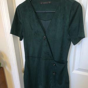 Zara Green Suede Holiday Dress